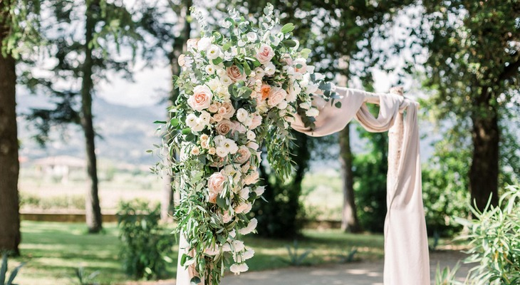 Tuscany wedding ceremony arch